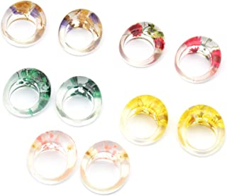 Women's Trendy Dried Flower Color Resin Ring,Natural Dried Flower Transparent Acrylic Jewelry Party Ring for Girl