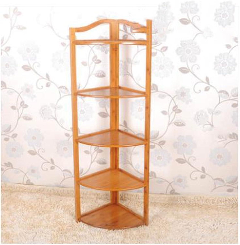 Bamboo corner frame triangu bookshelves wall solid wood storage flower shelves ( Size   3270cm(12.527.5inch) )