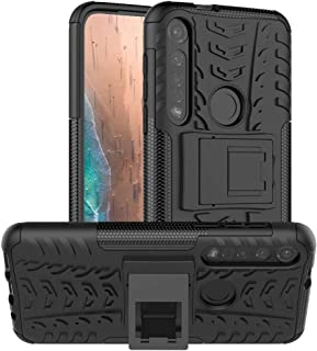 Moto G8 Plus Case,PUSHIMEI Heavy Duty Shockproof with Kickstand Hard PC Back Cover Soft TPU Dual Layer Protection Phone St...
