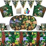 Jungle Animal Party Supplies Platos de Papel Tazas Servilletas Manteles Banner de cumpleaños con Globos Gratis y lápices de Colores variados-16 Invitados