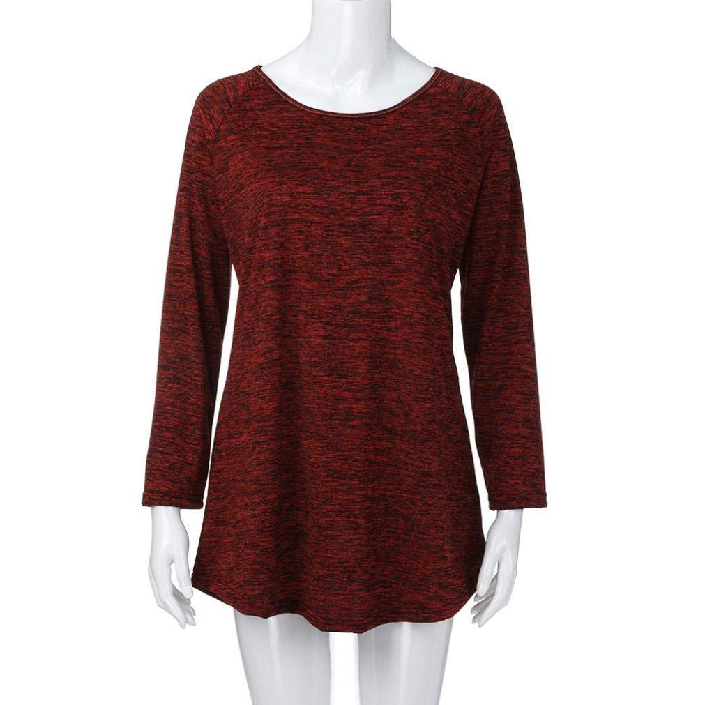 Heeecgoods Tallas Grandes para Mujer Blusa sin Mangas, Manga Larga, sólido y Holgado Tops Camisa (Color : Vino Rojo, tamaño : XXL): Amazon.es: Hogar