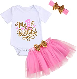 GRNSHTS Baby Girl Birthday Cake Smash Outfit Toddler Girl My 1st Birthday Romper Tutu Skirt with Headband Clothes Set