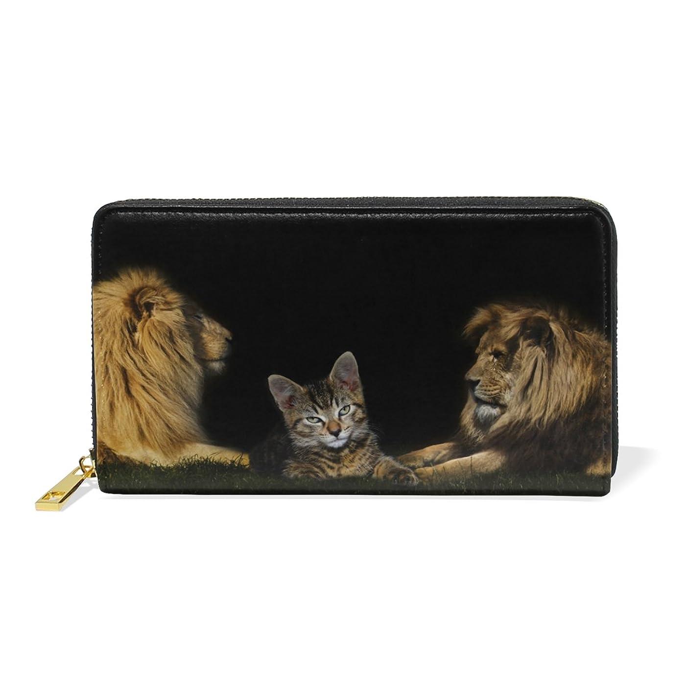 知らせるスクワイアフェミニンAOMOKI ラウンドファスナー 財布 長財布 大容量 本革 ライオン 猫 おやびん