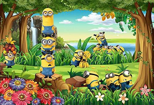 MIYCOLOR Funny Minions Wallpaper 3D Individuelle Fototapeten Cartoon Fototapete Wald Kind Schlafzimmer Kindergarten Kinderkrankenhaus Raumdekor-200x140