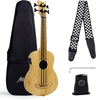 Bass Ukulele 30 Inch Solid Bamboo Electric Bass Ukelele With Strap Gig Bag Humidifier Tuning Wrench