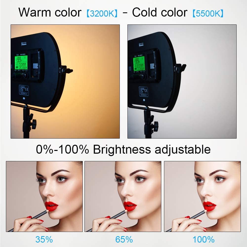 Portrait Light with Battery//Charger//AC Adapter PE-920II with Battery Professional LED Bi-Color Slim Studio Lighting,Ultra Thin Studio Edge Flapjack Light