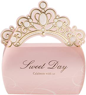 Into 50 Pcs Shiny Glitter Crown Sweet Day Wedding Party Candy Favor Gift Boxes Pink/Red
