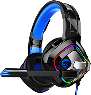 Beaupretty Gaming Headset Wired Bass Headphones 7.1 Gaming Headphones LED Mono Headphones with Microphone Noise Cancelling...