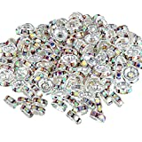 200 Pieces Rondelle Beads Tone Crystal Spacer Beads Loose Beads for Jewelry Making (Colorful)