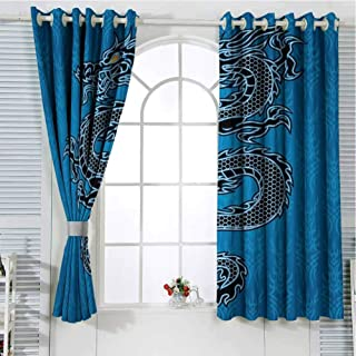 Jinguizi Grommet Window Curtain Blackout Curtains for Bedroom Japanese Dragon,Black Dragon on Blue Tribal Background Year of The Dragon Themed Art,Blue Black White Light Curtain 72 x 45 inch