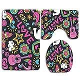 Not Applicable Trippy Peace Love Pigeon Bird Guitar Butterfly 3 PCS Conjuntos de alfombras de baño WC Piso Contorno Mat Tapa de Inodoro Tapa