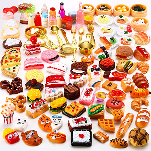 Sumind 100 Pieces Miniature Food Drinks Toys Mixed Pretend Foods for Dollhouse Kitchen Play Resin Mini Food for Adults Teenagers Doll House (Hamburger  Pizza  Cake  Bread)