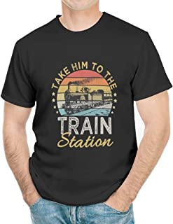 HYPOWELL Men`s Take Him to The Train Station Shirt Funny Train T-Shirt for Men