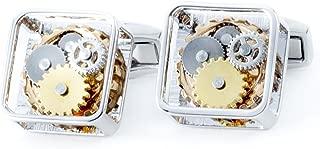 CL0678RTRPL Tateossian Mens Square Gunmetal Silver Cufflinks Gear Cufflinks
