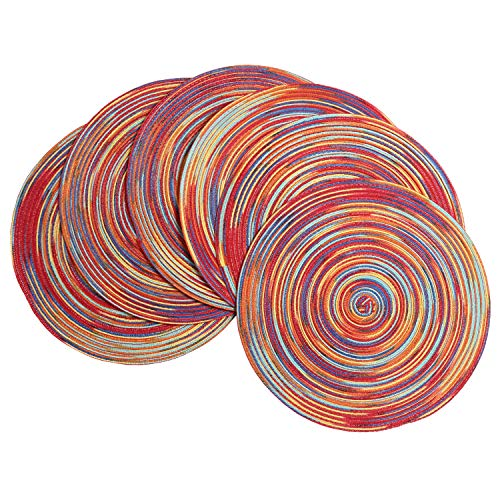 SHACOS Round Braided Placemats Set of 6 Decorative Colorful Placemats for Dining Tables Holiday Party Decor (Rainbow-Red, 6)