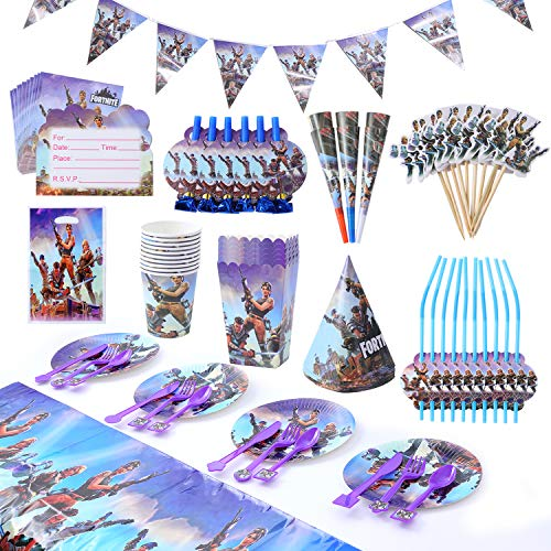 Herefun Geburtstagsfeier Party Zubehör, 137 Stück Spiel Partyzubehör Set für Spielliebhaber, Video Gaming Thema Party Supplies Dekorationen einschließlich Cake Topper, Banner, Party-Set