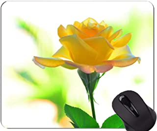 Gaming Mouse Mat,Yellow Flower Earth Macro Rose -Stitched Edges