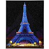 Wenye.Z DIY Painting Kits with LED Light, Diamond Art with Accessories,Christmas Wall Decor, Unique Gift (Eiffel Tower),