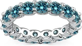 2.50 Carat Natural Blue Diamond Full Eternity Wedding Anniversary Bridal Band Ring 14K White Gold