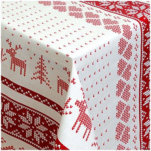 TEXMAXX Wachstuchtischdecke Wachstischdecke Wachstuch Tischdecke abwaschbar (1231-01) - 180 x 140 cm - PVC Tischdecke abwischbar, Weihnachten Selburose Rot-Weiss