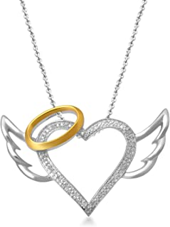 Jewelili 14kt Yellow Gold Plated Sterling Silver Round White Diamond Accent Angel Winged Halo Heart Pendant Necklace, 18