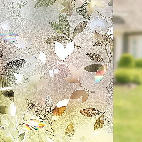 Pegatinas estáticas 3D, decoración de Hojas translúcidas, película de Ventana de Vidrio con Grabado de privacidad, Adecuada para el hogar, la Oficina, la Tienda Y 45x100cm