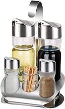 Vinagreras De Vidrio De Acero Inoxidable Sal Y Pimienta Coctelera Frascos De Especias Goteo Libre Botella De Aceite Conjunto Con Soporte,B10