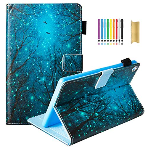 Dteck Case for Kindle Fire HD 8 Tablet (Previous Generation, 8th Generation 2018 & 7th Generation 2017 & 6th Generation 2016), Flip Stand Wallet Case with Auto Wake Sleep, Fireflies Forest