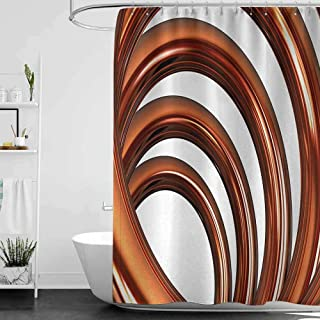 StarsART Shower Curtains Designer Abstract,Helix Coil Curved Spiral Pipe Swirled Shape on White Backdrop Print,Dark Orange and White W65 x L72,Shower Curtain for Shower stall