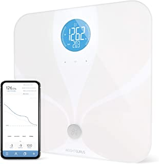 Greater Goods WiFi Smart Body Fat Bathroom Scale, Weight Gurus Connected, Backlit LCD, ITO Conductive Surface Technology, Accurate Precision Health Alerts, Measurements, and Monitoring (White 2019)