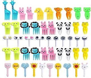 50 Pcs Food Fruit Fork Picks for Kids Cute Animals Bento Box Decor ForksCake Little Forks Dessert Forks Mini Cartoon Tooth...