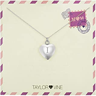 Taylor & Vine Mom Love Letter Initial Necklace Heart Pendant Engraved Love You Mom Silver Tone 16