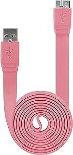 كابل USB 3.0 من نوع A إلى Micro B Flat لهاتف Samsung Galaxy Note 3 وSamsung Galaxy S5 - وردي فاقع