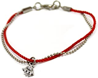 Women's Elegant Red Thread and Silver Tone Beads Hamsa Charm Bracelet for Protection - 7 Inch