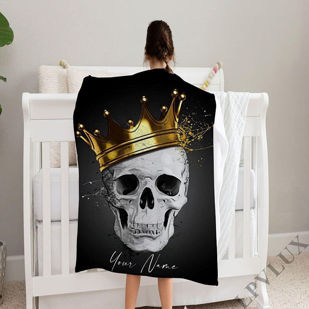 GANTEE Royal 2021 King Skull OFFicial store Personalize Baby Blanket Su Name Custom