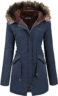 Womens Hooded Faux Fur Anroak Outwear Jacket Warm Winter Thicken Fleece Lined Parkas Long Coats