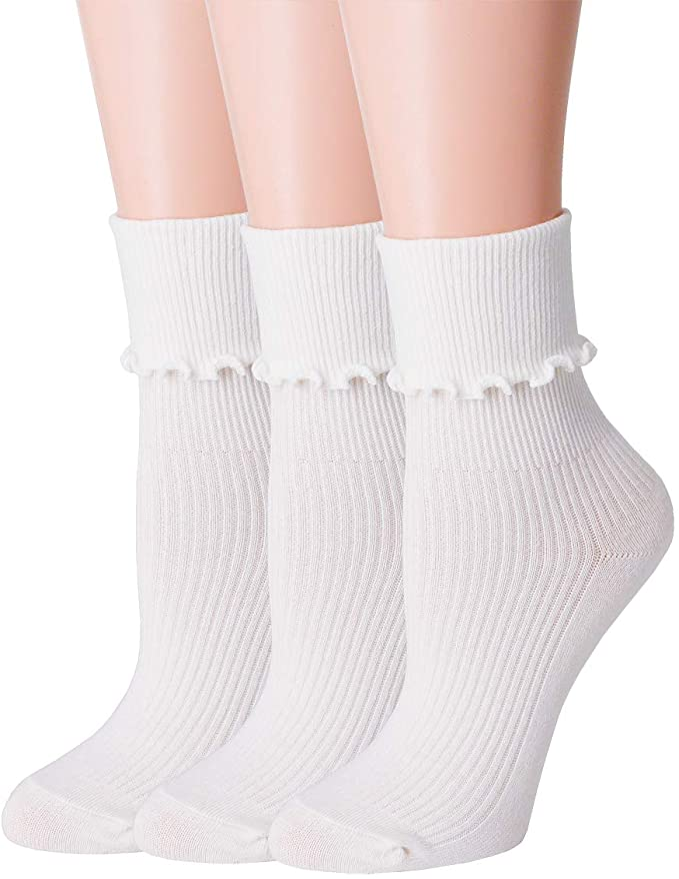 1960s Tights, Stockings, Panty Hose, Knee High Socks SRYL Women Ankle Socks Ruffle Turn-Cuff Lovely double needle solid color edge relent Girl socks  AT vintagedancer.com