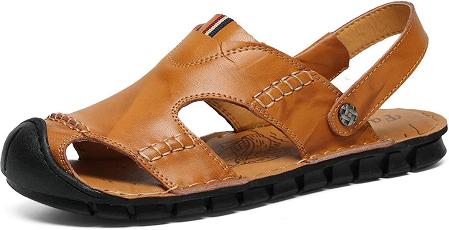 Sandals Athletic Men Closed Toe Summer Casual Fisherman Leather Beach shoes Hiking Outdoor Anti Collision