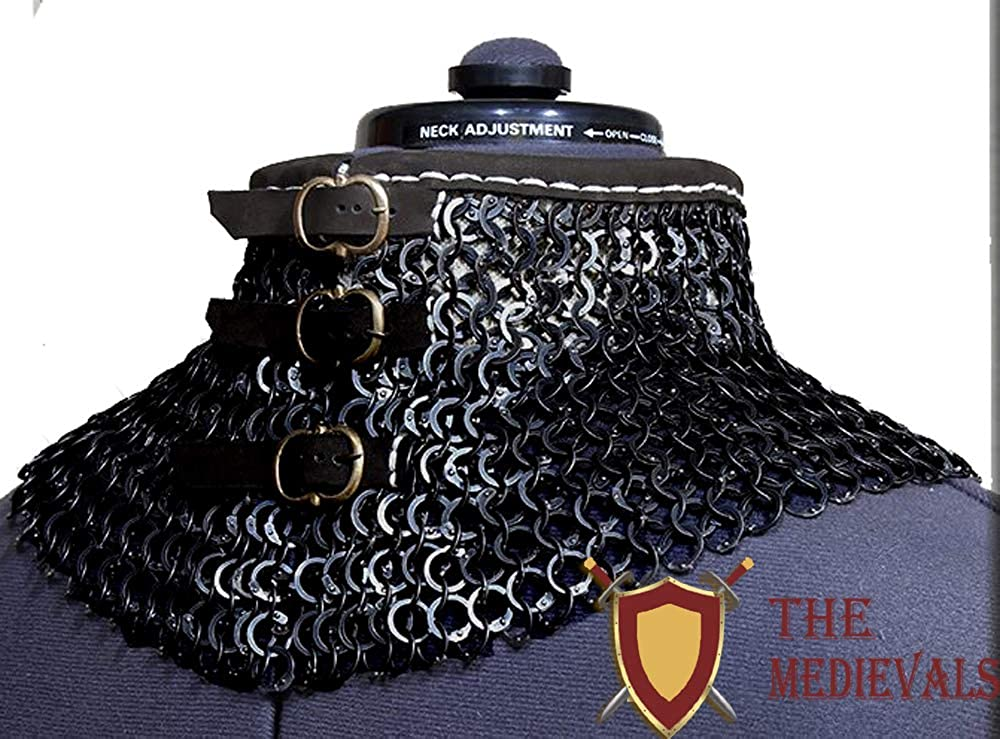 THE MEDIEVALS Medieval Armor Chain Mail Coller 9 MM ID Flat Riveted with Washer
