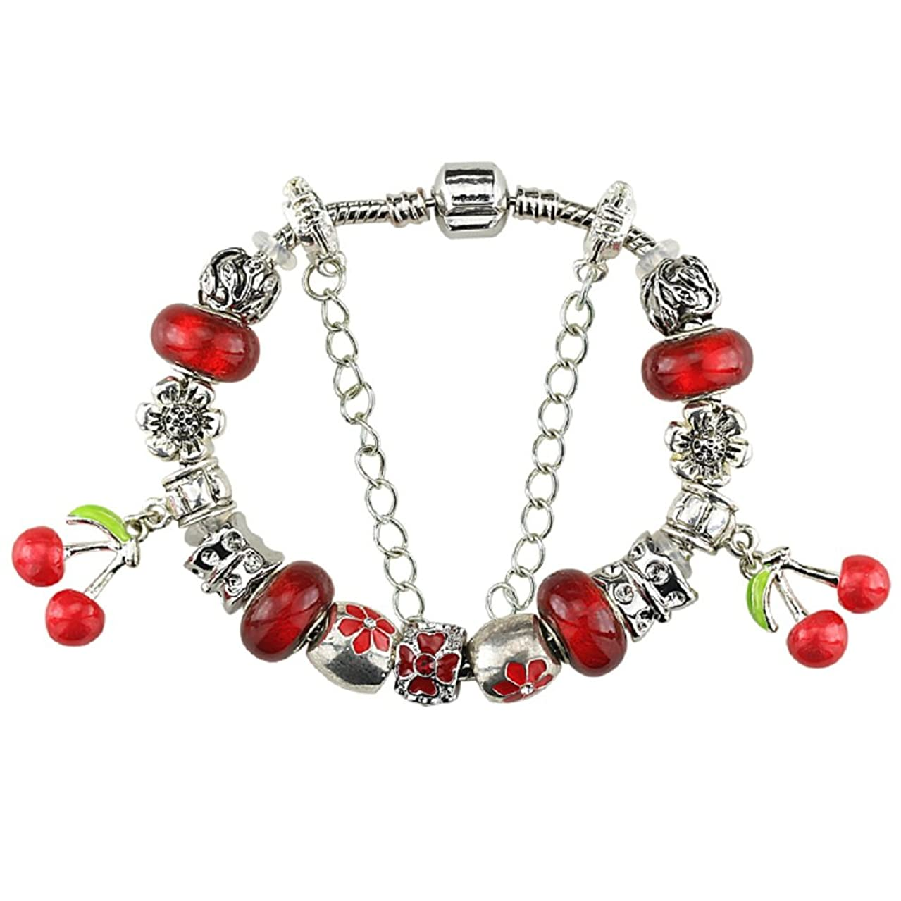 Duchy White Birch Charm Bracelets and Charm for Pandora for Women Silver Platedd Red Cherry