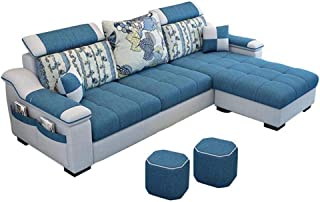 L Shape sofa 3 Seat Linen Living Room Sofa Set Home Furniture Modern Design Frame Soft Sponge Shape Home Furniture(Foot pe...
