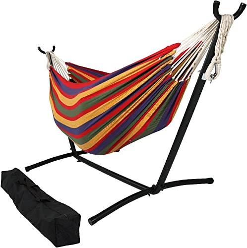 discount Sunnydaze sale Double Brazilian Hammock with online sale Stand & Carrying Case - Large Two Person Hammock with Brazilian Stand - 400 Pound Capacity - Tropical outlet sale