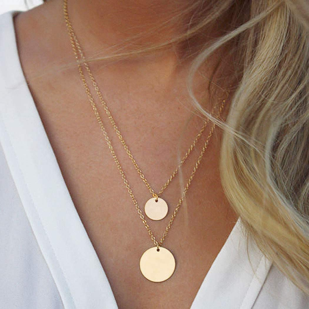 Yean Sequin Pendant Necklace Layered Coin Necklaces Gold Jewelry Chain for Women and Girls