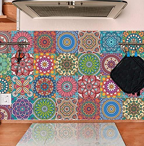 TOARTI 18 Stück Mosaik Küche Wandaufkleber,Bunt Wandfliese Aufkleber,DIY Marokkanischer Fliesenaufkleber für Badezimmer,Treppenaufkleber Fliesenfolie,Wasserdicht Selbstklebende Fliesensticker,15×15CM