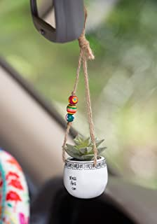 Natural Life Mini Macramé Faux Succulent Pot Holder for Car Rear View Mirror (Bless This Car)