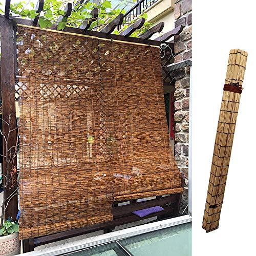 L-DREAM Bambusrollo Raffrollo Holzrollo Für Fenster丨Cool Atmungsaktiv, Eng Gewebt丨Bambus Sichtschutz Für Fenstermontage丨Indoor Deko, Balkon Trennwand丨Bambus Rollo Für Außen