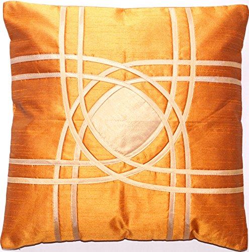 Ruwado Ocker met beige patroon Dupion zijden kussensloop | sierkussensloop | sofakussensloop | sierkussen uit India - 40 cm x 40 cm