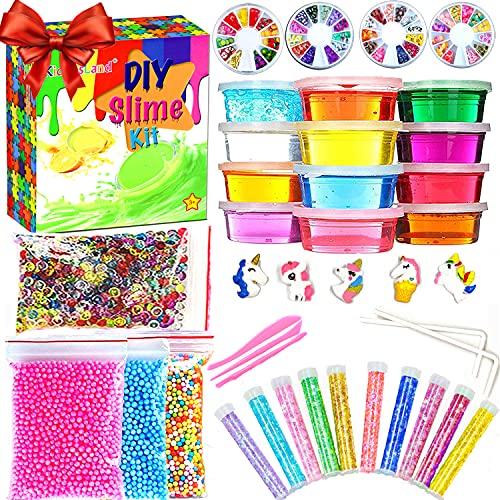 Slime Kit for Girls Boys,Slime for Kids Unicorn Sime Kit-12 Slime,10 Slime Glitters,4 Slime Charms,Slime Supplies for Slime Party Favors,Kids Slime,Slime Making Kit,Boys Girls Toy Ages 3+