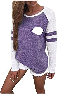 Maternity Nursing Hoodie Top T Shirt,Crytech Pregnant Women Long Sleeve Plaid Patchwork Hooded Pullover Sweatshirt Tee for Breastfeeding Casual Fall Winter Clothes