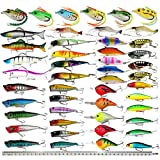 Hard Fishing Lure Set Assorted Bass Soft Fishing Lure Kit Colorful Minnow Popper Crank Rattlin VIB Jointed Fishing Lure Set Hard Crankbait Tackle Pack Saltwater Freshwater (48pcs)